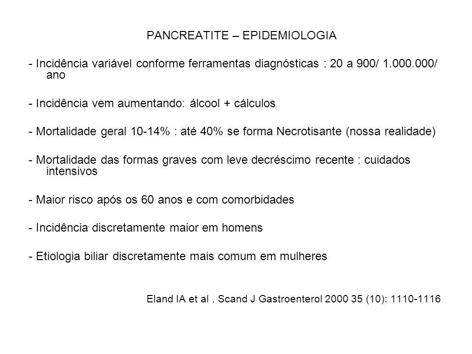 PANCREATITE – EPIDEMIOLOGIA