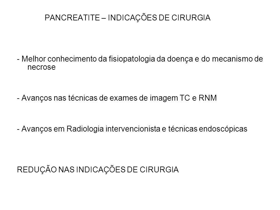PANCREATITE – INDICAÇÕES DE CIRURGIA
