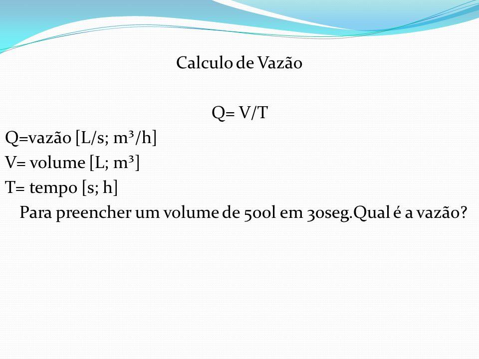 Calculo de Vazão Q= V/T.