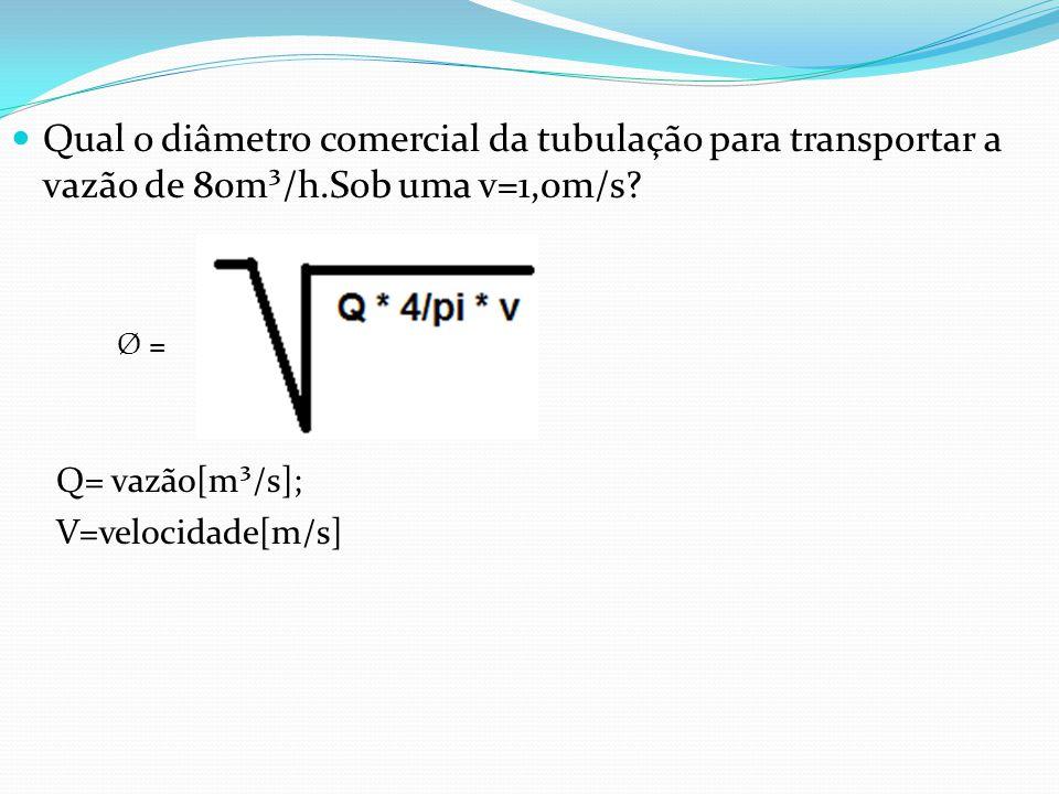 Qual o diâmetro comercial da tubulação para transportar a vazão de 80m³/h.Sob uma v=1,0m/s