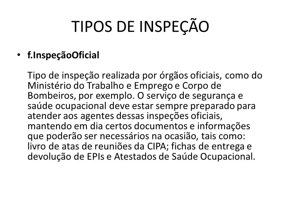 TIPOS DE INSPEÇÃO