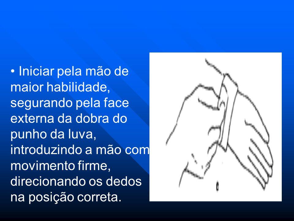 Iniciar pela mão de maior habilidade, segurando pela face externa da dobra do punho da luva, introduzindo a mão com movimento firme, direcionando os dedos na posição correta.