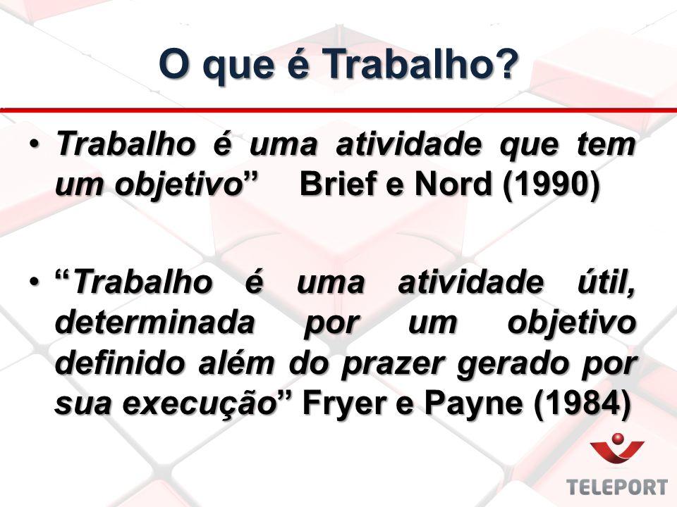 O que é Trabalho Trabalho é uma atividade que tem um objetivo Brief e Nord (1990)