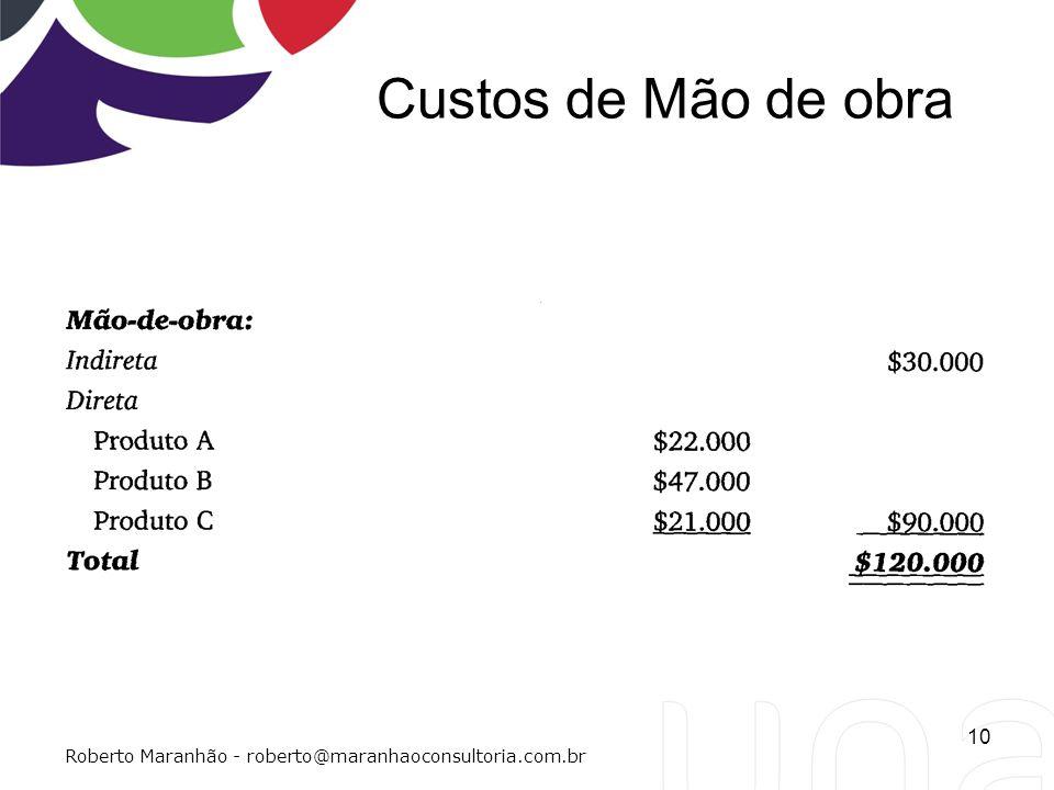 Custos de Mão de obra Roberto Maranhão - roberto@maranhaoconsultoria.com.br