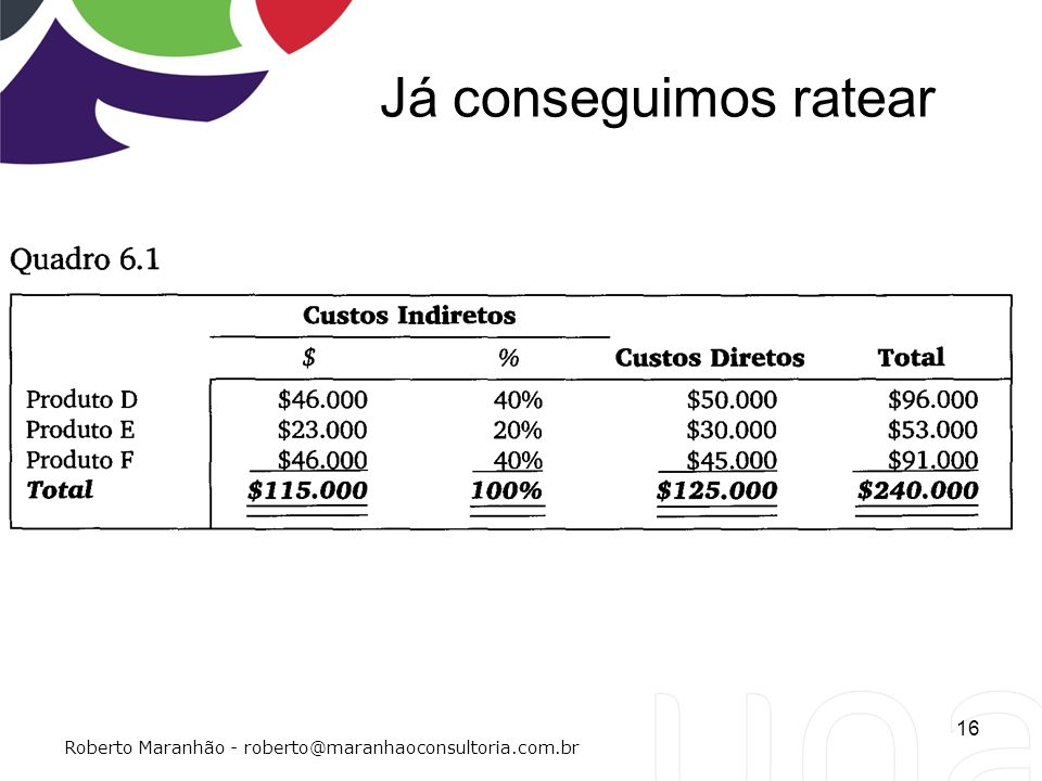 Já conseguimos ratear Roberto Maranhão - roberto@maranhaoconsultoria.com.br