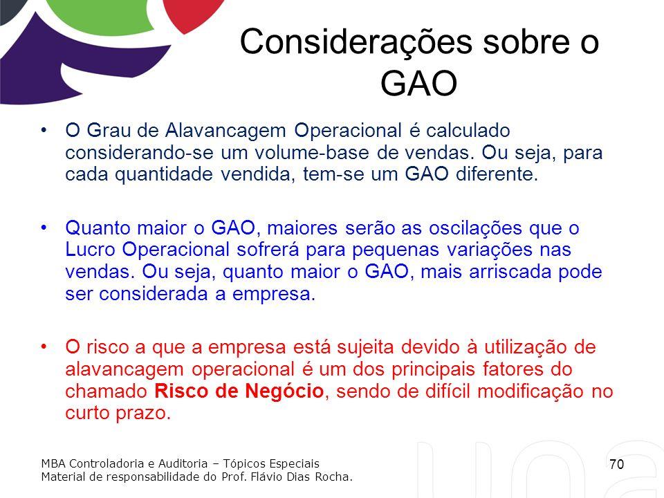 Considerações sobre o GAO