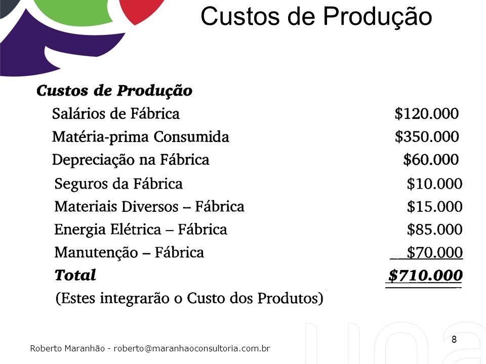 Custos de Produção Roberto Maranhão - roberto@maranhaoconsultoria.com.br