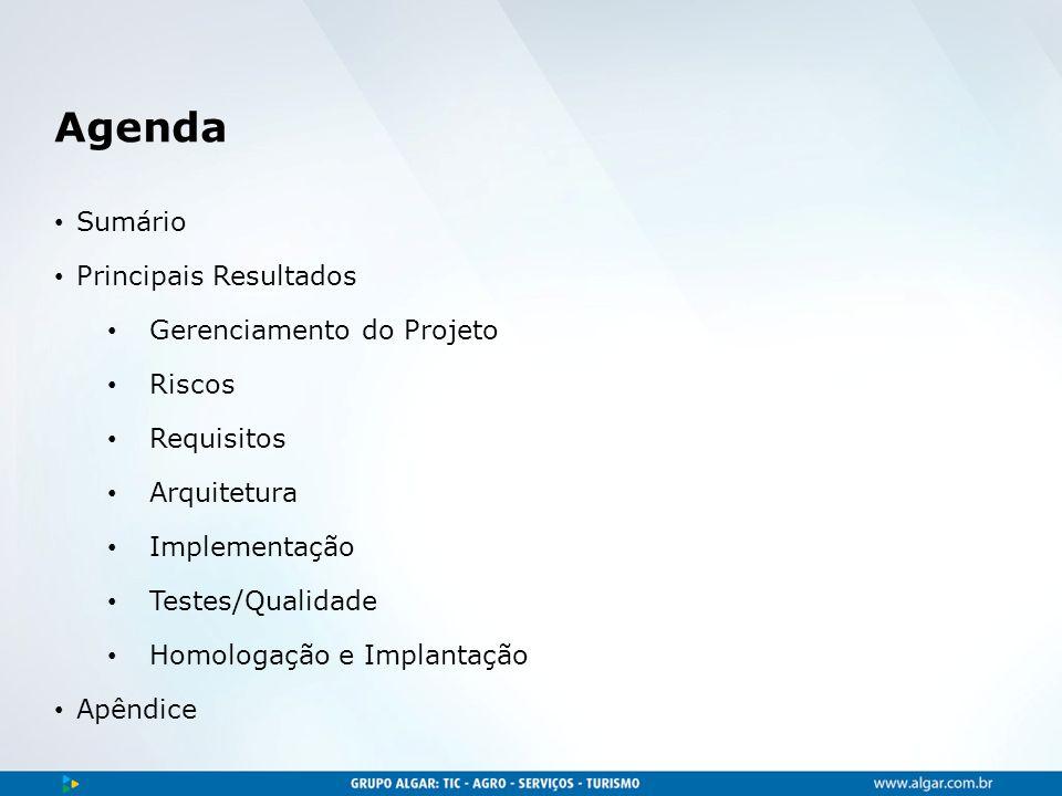 Agenda Sumário Principais Resultados Gerenciamento do Projeto Riscos