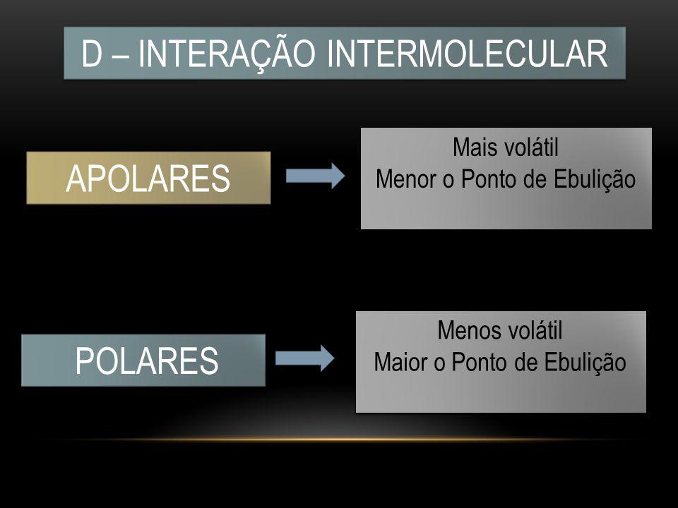 D – INTERAÇÃO INTERMOLECULAR