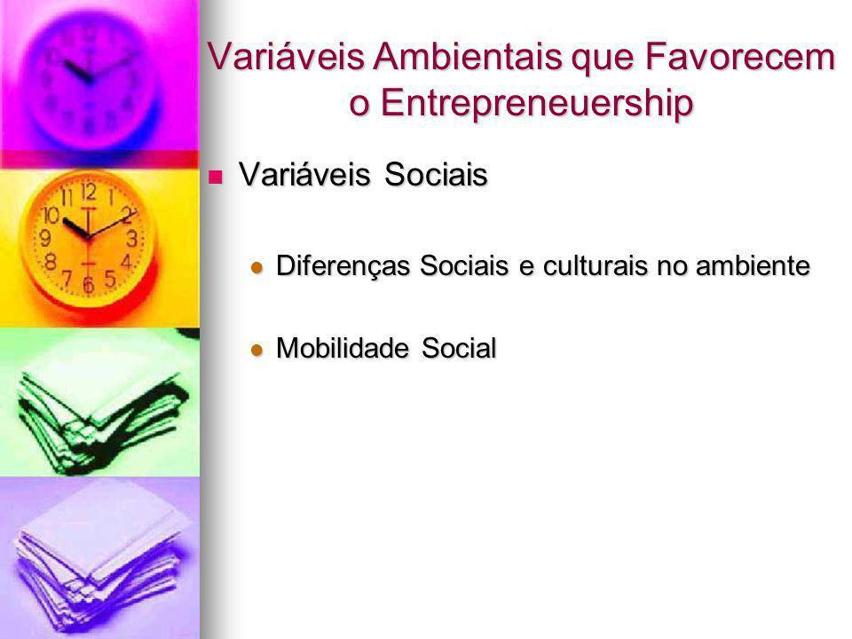 Variáveis Ambientais que Favorecem o Entrepreneuership