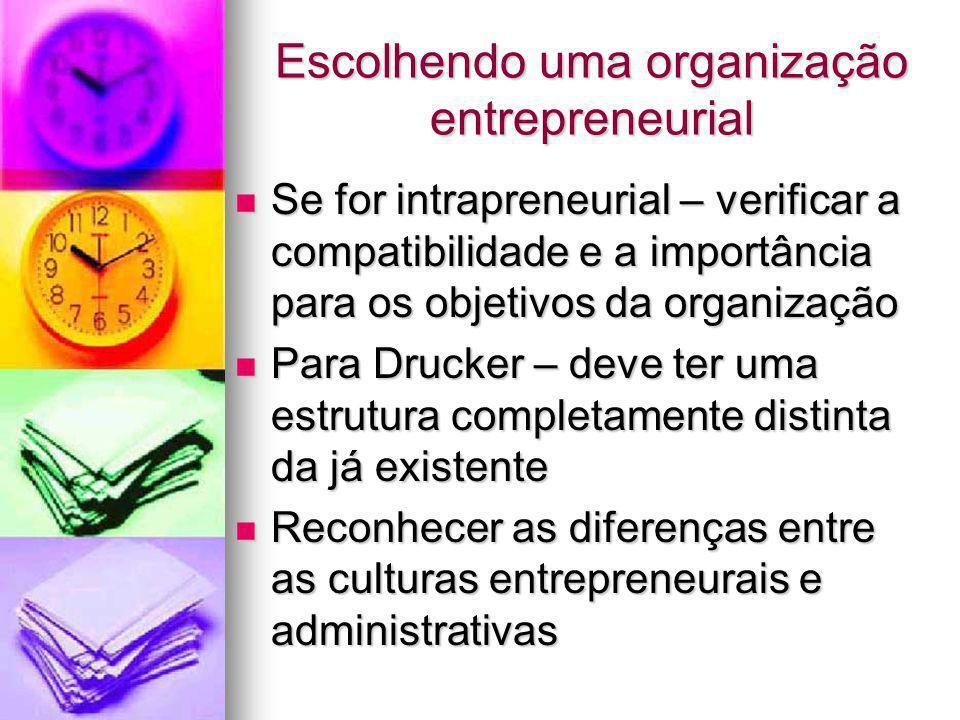 Escolhendo uma organização entrepreneurial