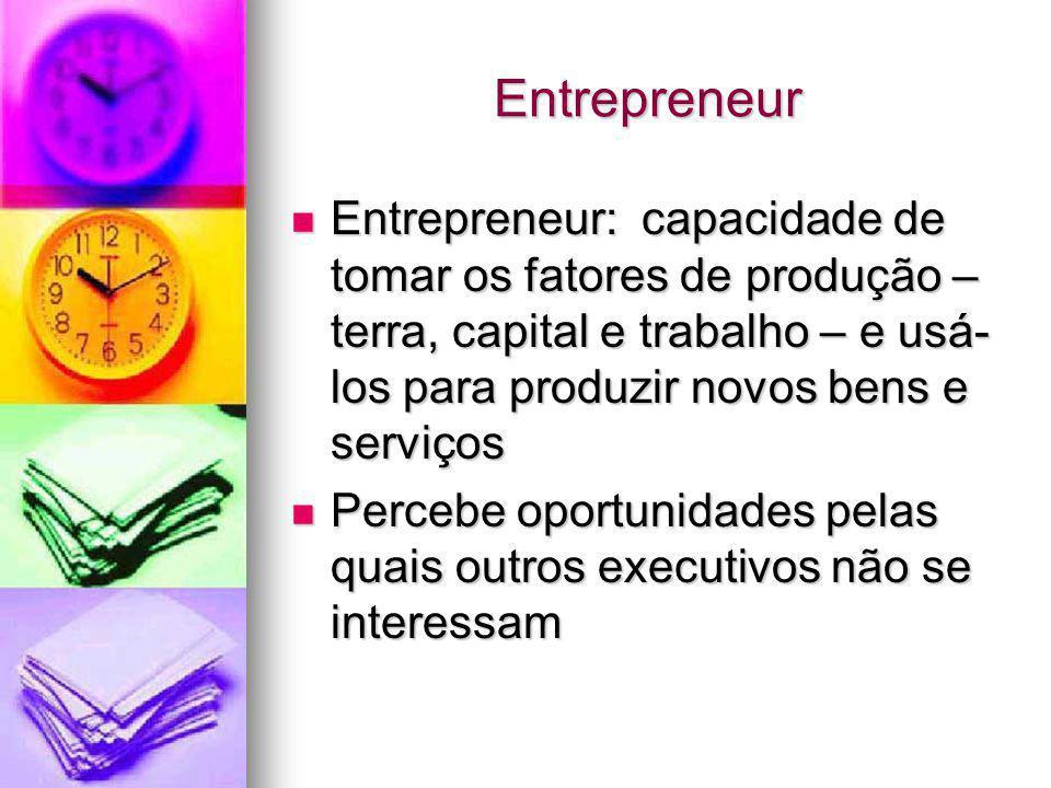 Entrepreneur Entrepreneur: capacidade de tomar os fatores de produção – terra, capital e trabalho – e usá-los para produzir novos bens e serviços.
