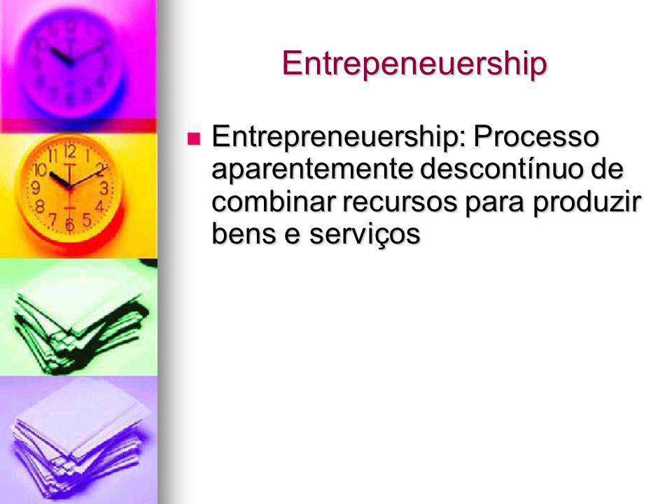 Entrepeneuership Entrepreneuership: Processo aparentemente descontínuo de combinar recursos para produzir bens e serviços.