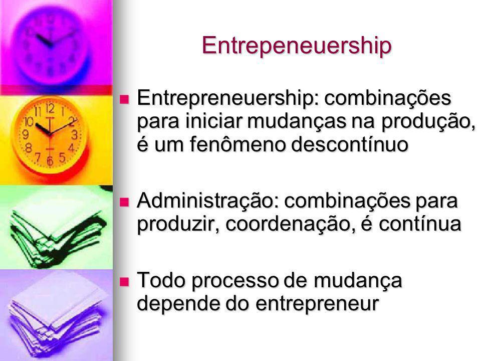 Entrepeneuership Entrepreneuership: combinações para iniciar mudanças na produção, é um fenômeno descontínuo.