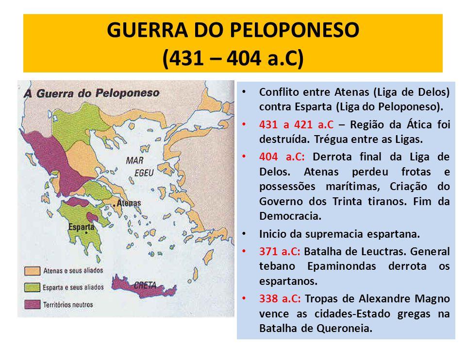 GUERRA DO PELOPONESO (431 – 404 a.C)