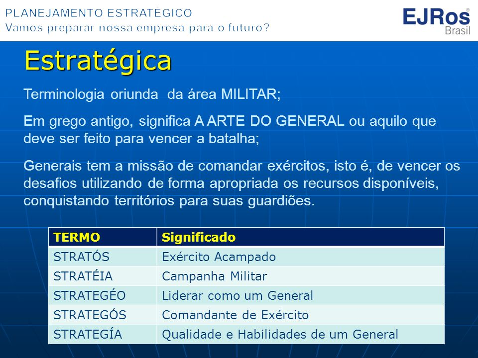 Estratégica Terminologia oriunda da área MILITAR;