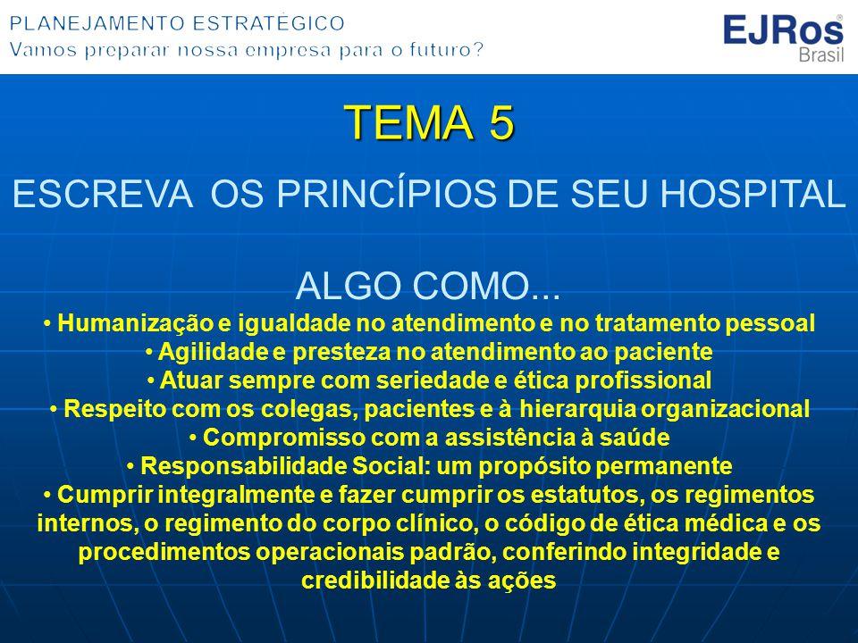 TEMA 5 ESCREVA OS PRINCÍPIOS DE SEU HOSPITAL ALGO COMO...