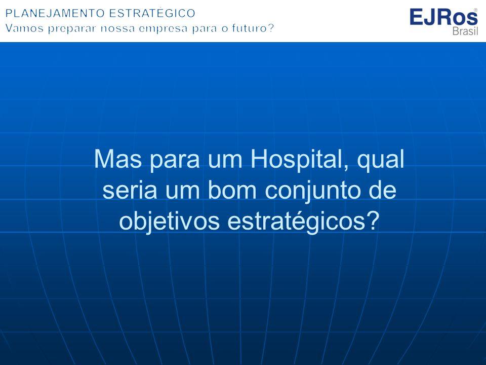 Mas para um Hospital, qual seria um bom conjunto de objetivos estratégicos