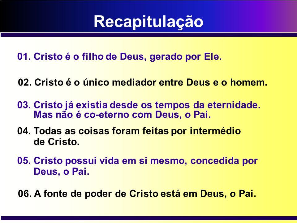 Recapitulação 01. Cristo é o filho de Deus, gerado por Ele.