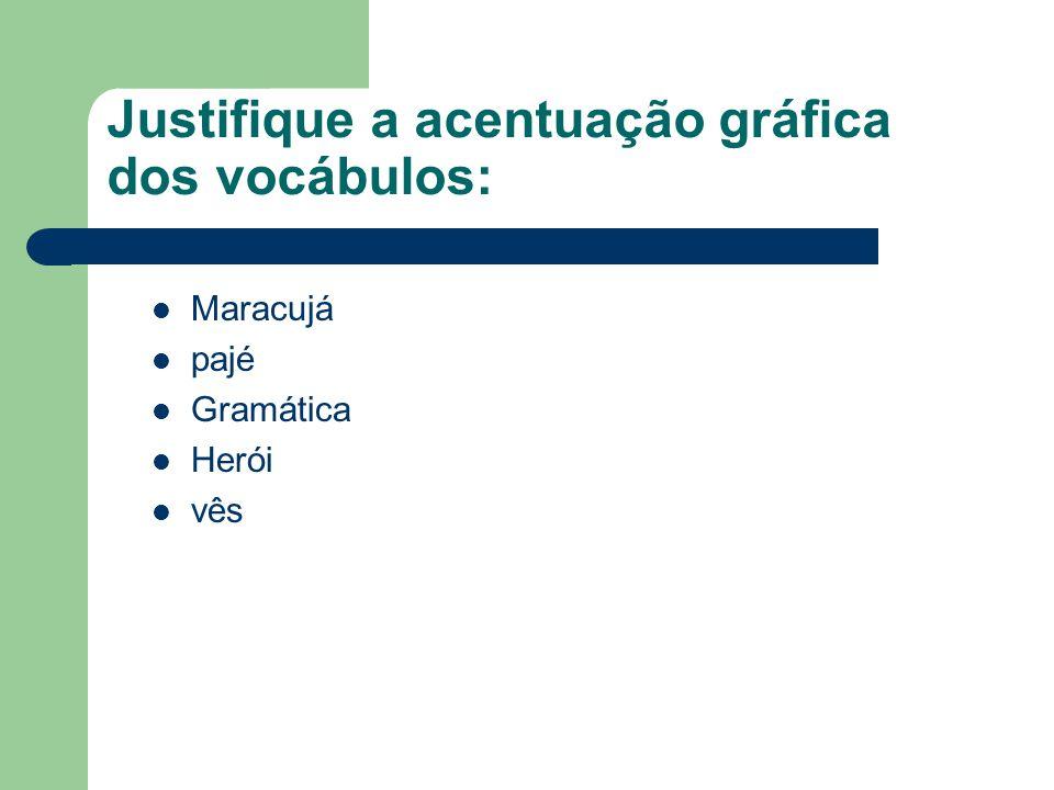 Justifique a acentuação gráfica dos vocábulos: