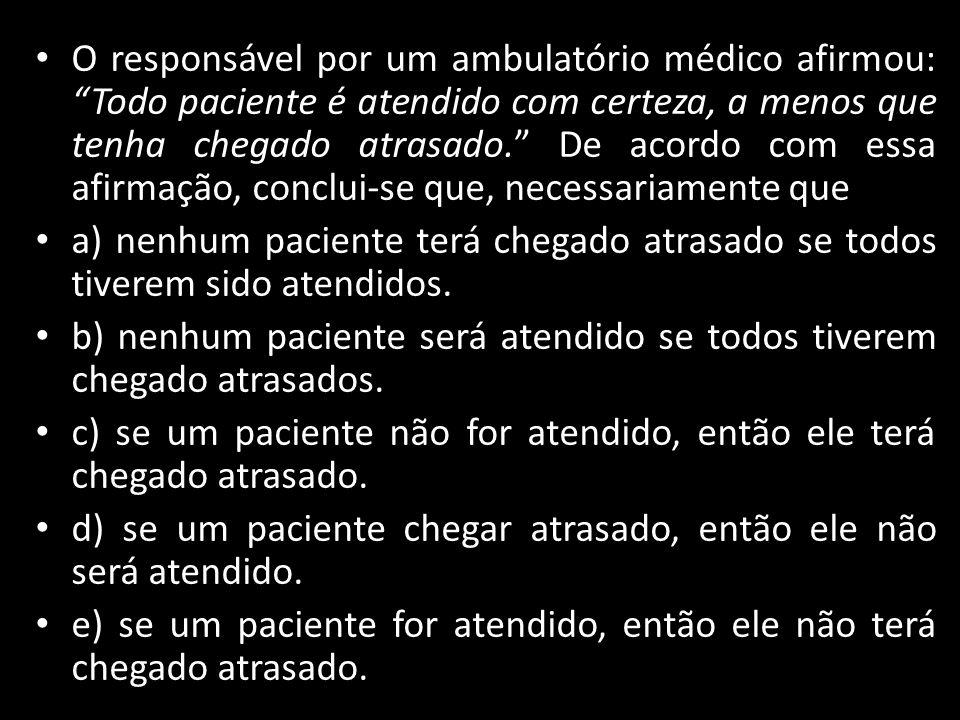 O responsável por um ambulatório médico afirmou: Todo paciente é atendido com certeza, a menos que tenha chegado atrasado. De acordo com essa afirmação, conclui-se que, necessariamente que