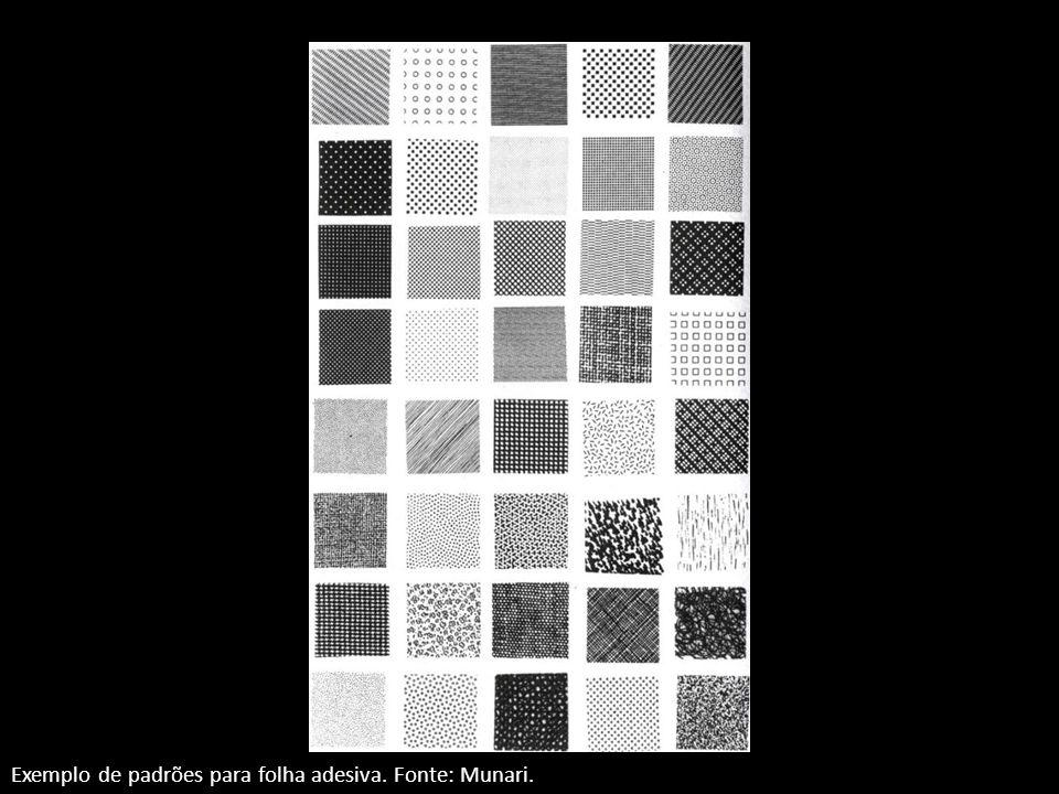 Exemplo de padrões para folha adesiva. Fonte: Munari.