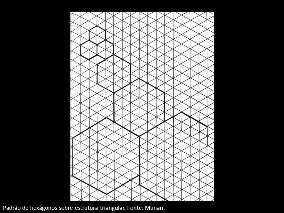 Padrão de hexágonos sobre estrutura triangular. Fonte: Munari.