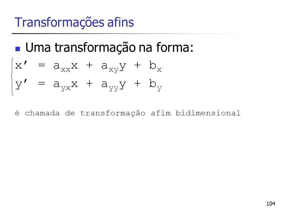 Transformações afins Uma transformação na forma: x' = axxx + axyy + bx.