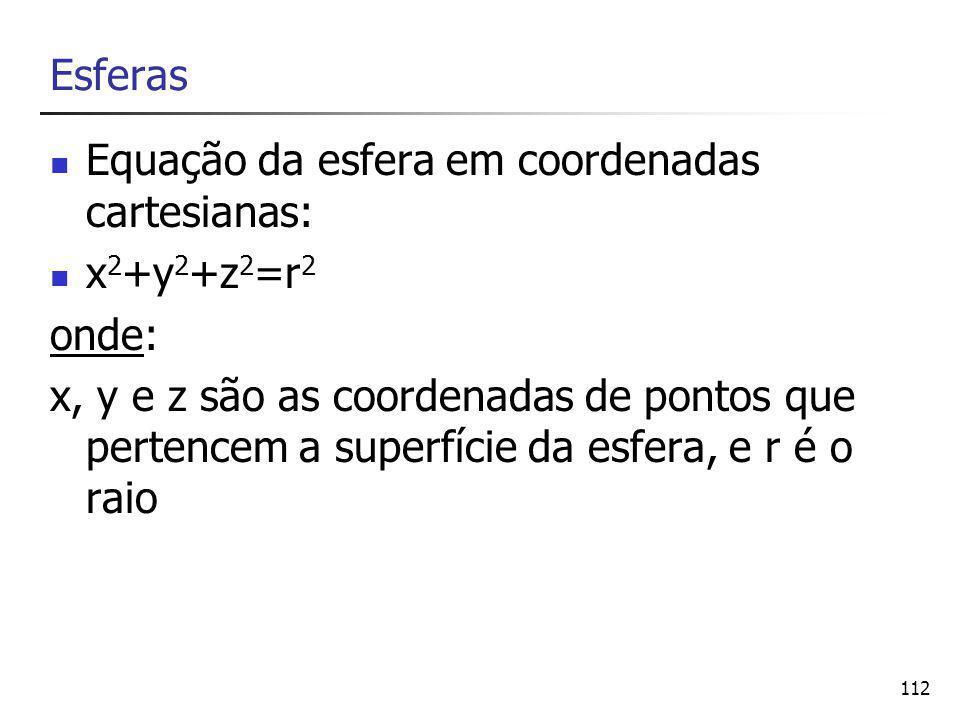 Esferas Equação da esfera em coordenadas cartesianas: x2+y2+z2=r2. onde: