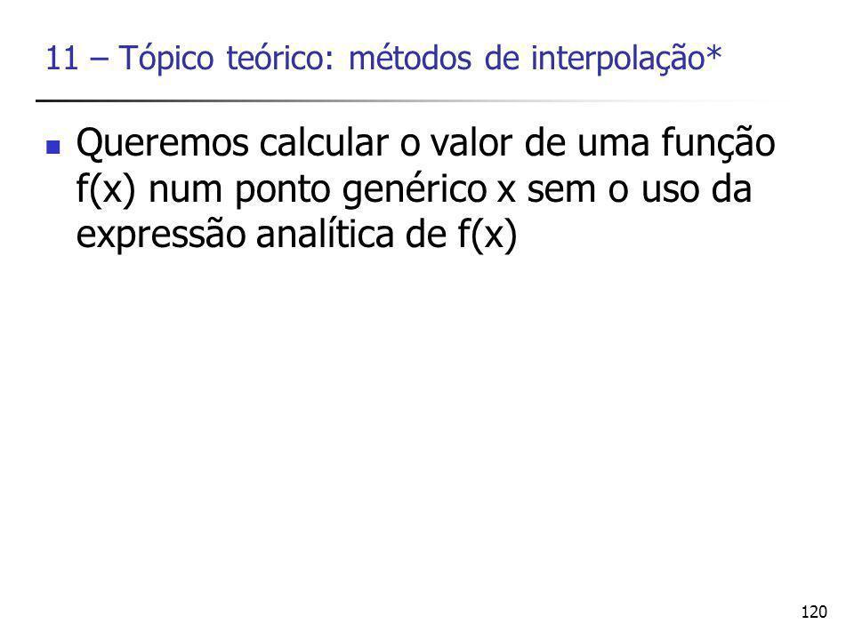 11 – Tópico teórico: métodos de interpolação*