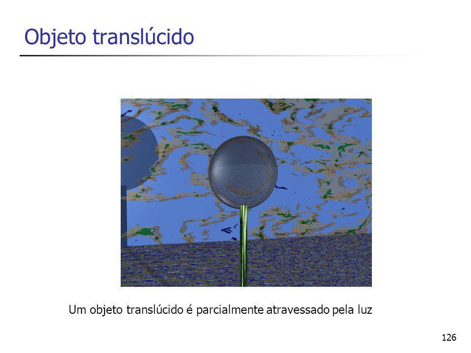 Objeto translúcido Um objeto translúcido é parcialmente atravessado pela luz