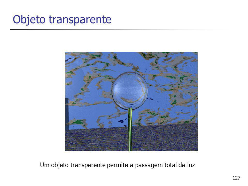 Objeto transparente Um objeto transparente permite a passagem total da luz