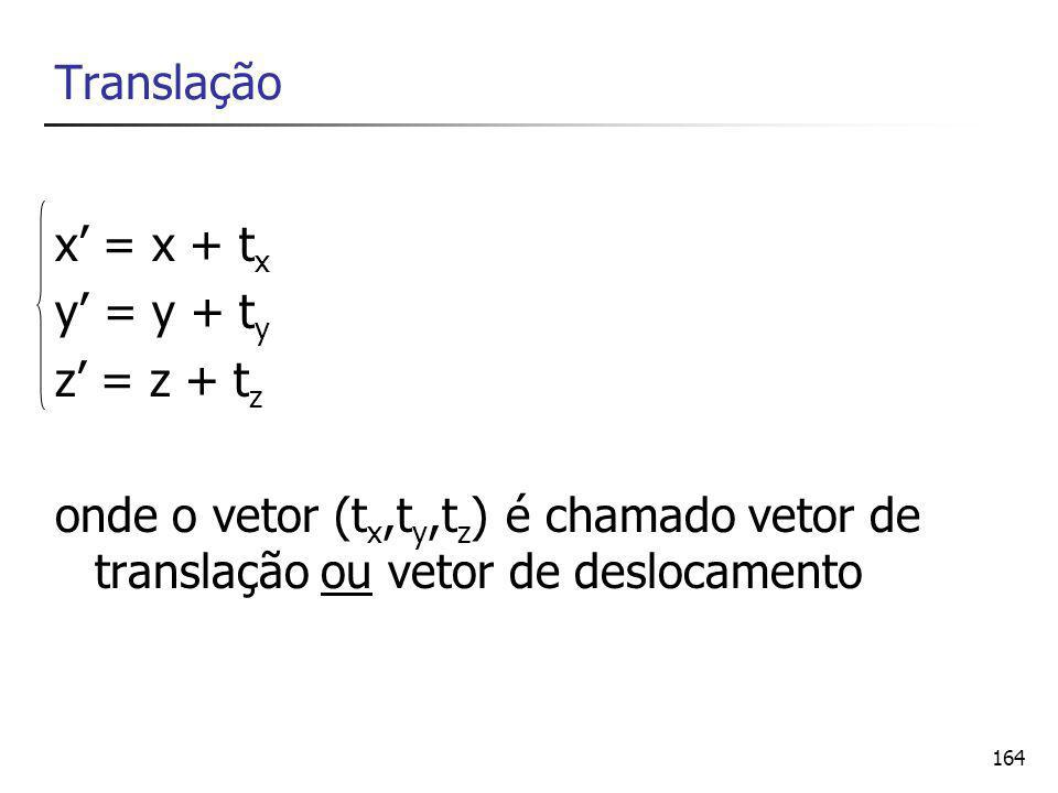 Translação x' = x + tx. y' = y + ty. z' = z + tz.