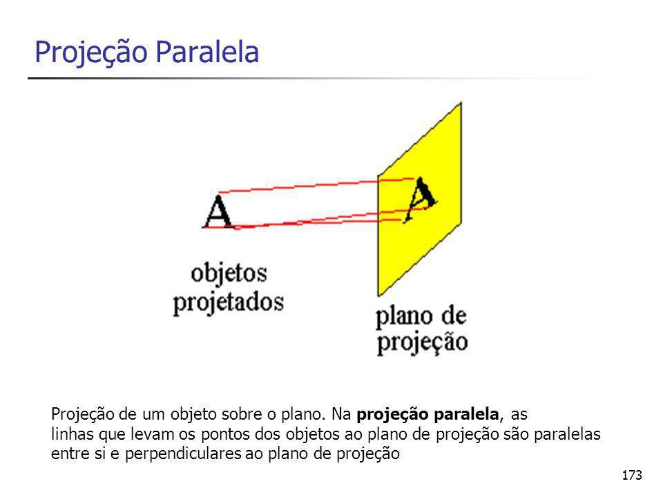 Projeção Paralela Projeção de um objeto sobre o plano. Na projeção paralela, as.