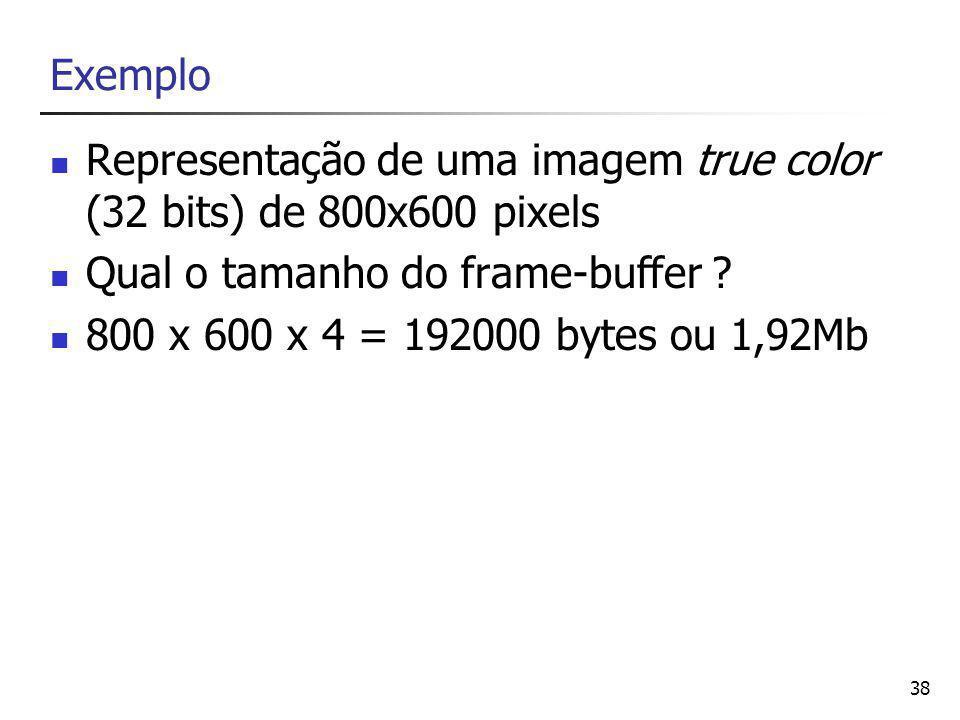Exemplo Representação de uma imagem true color (32 bits) de 800x600 pixels. Qual o tamanho do frame-buffer