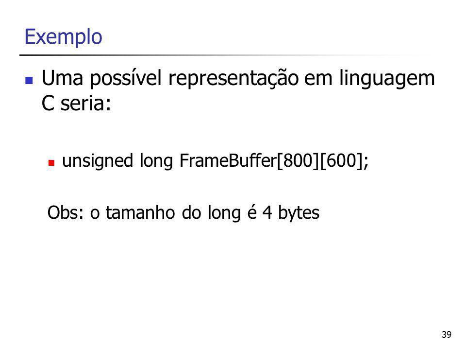 Uma possível representação em linguagem C seria: