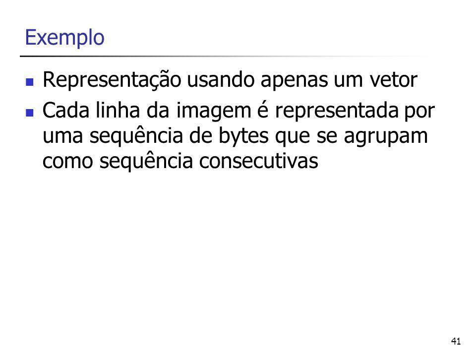 Exemplo Representação usando apenas um vetor.