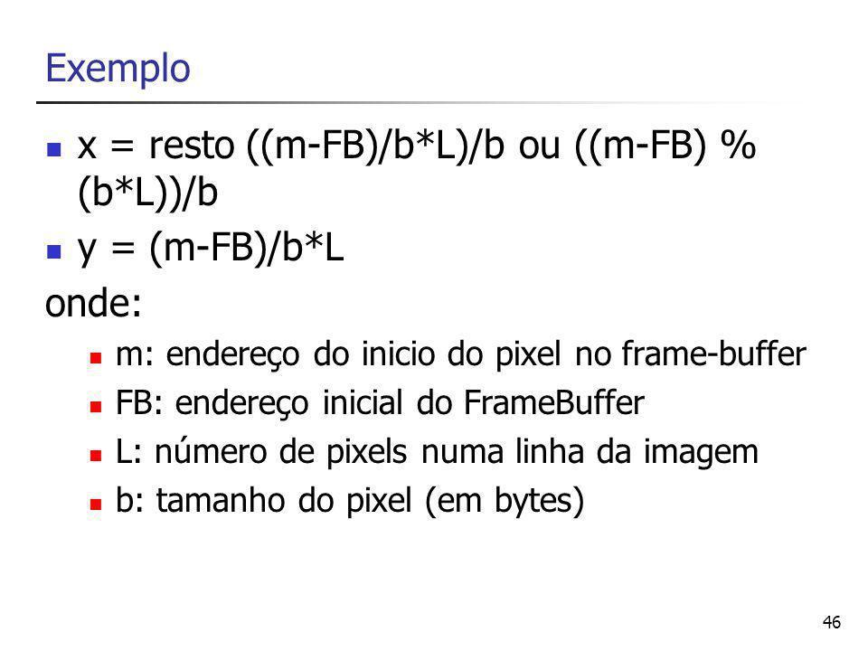 x = resto ((m-FB)/b*L)/b ou ((m-FB) % (b*L))/b y = (m-FB)/b*L onde: