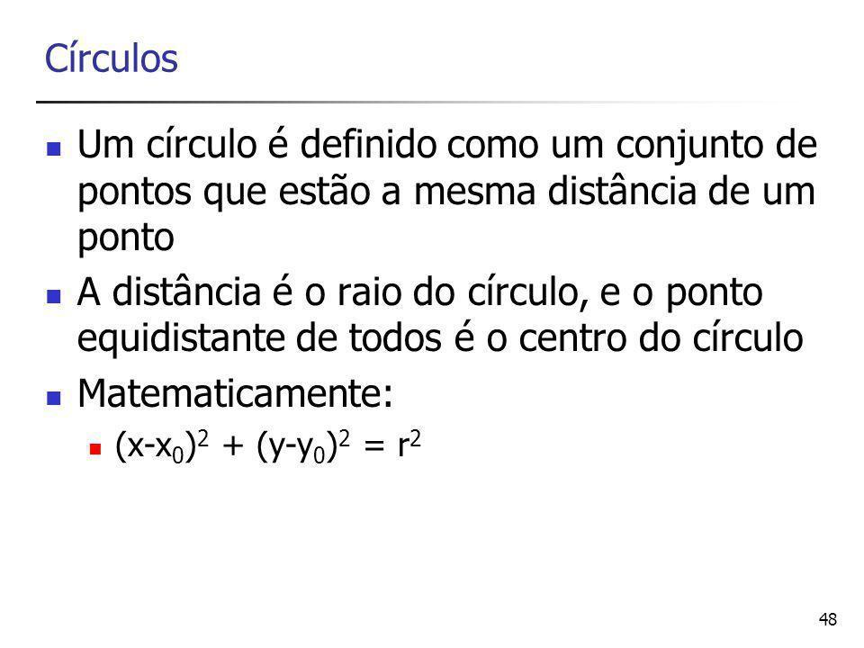 Círculos Um círculo é definido como um conjunto de pontos que estão a mesma distância de um ponto.