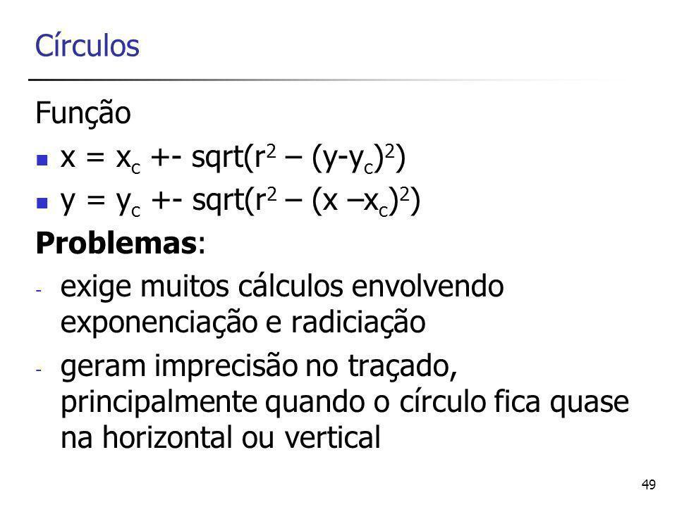 Círculos Função. x = xc +- sqrt(r2 – (y-yc)2) y = yc +- sqrt(r2 – (x –xc)2) Problemas: