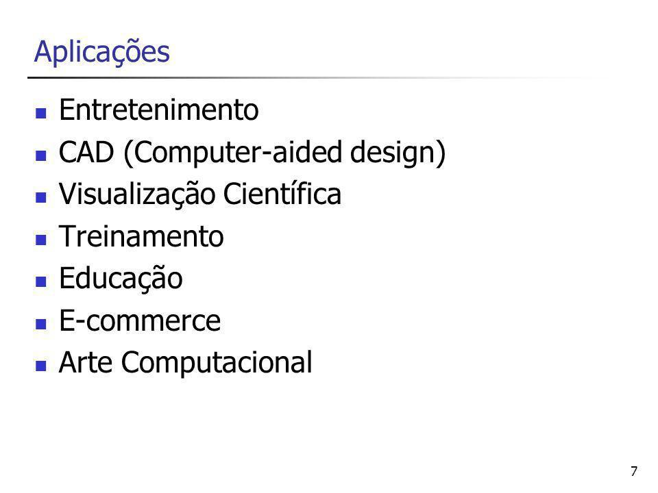 Aplicações Entretenimento. CAD (Computer-aided design) Visualização Científica. Treinamento. Educação.