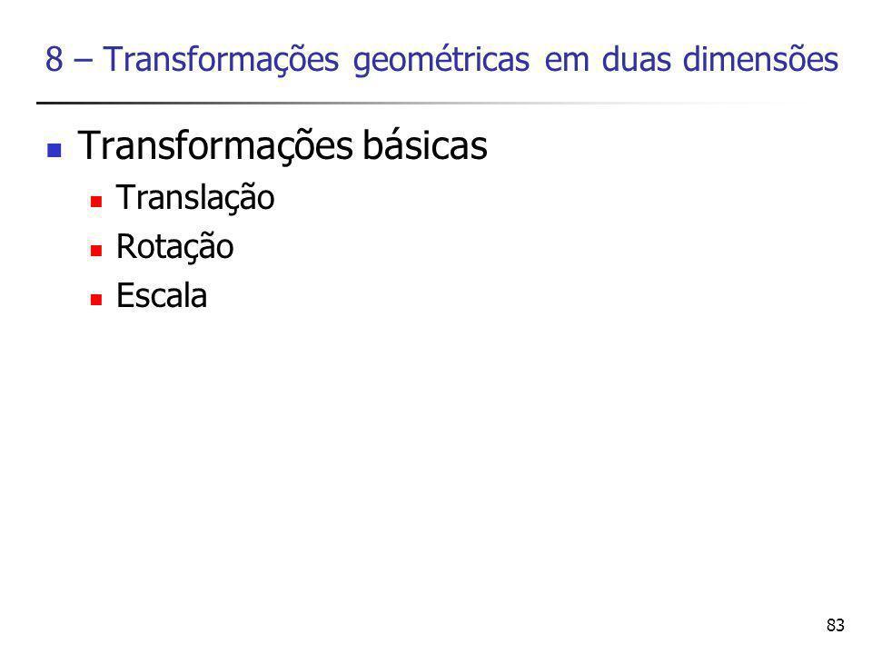 8 – Transformações geométricas em duas dimensões