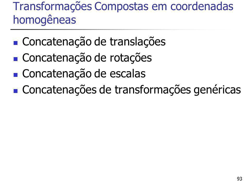Transformações Compostas em coordenadas homogêneas