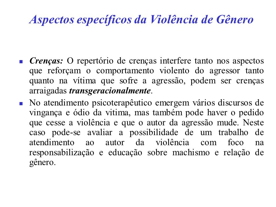 Aspectos específicos da Violência de Gênero