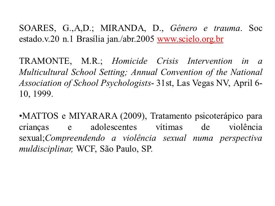 SOARES, G. ,A,D. ; MIRANDA, D. , Gênero e trauma. Soc estado. v. 20 n