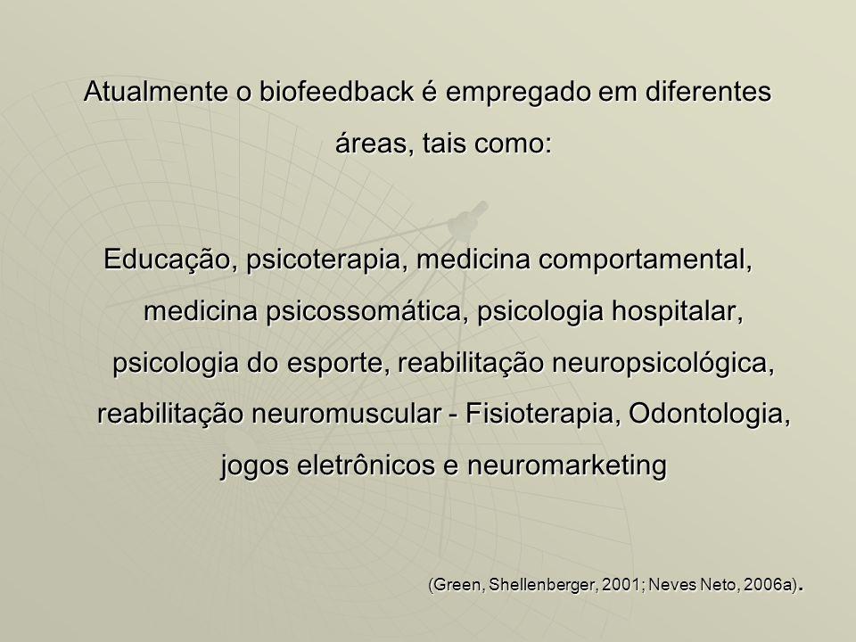Atualmente o biofeedback é empregado em diferentes áreas, tais como: