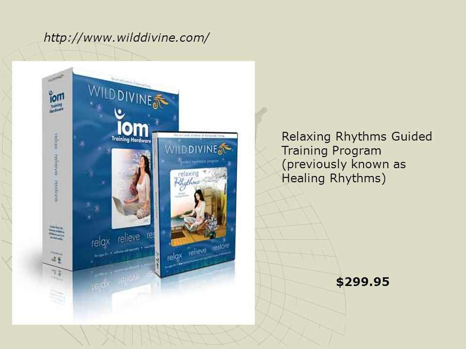 http://www.wilddivine.com/ Relaxing Rhythms Guided Training Program (previously known as Healing Rhythms)
