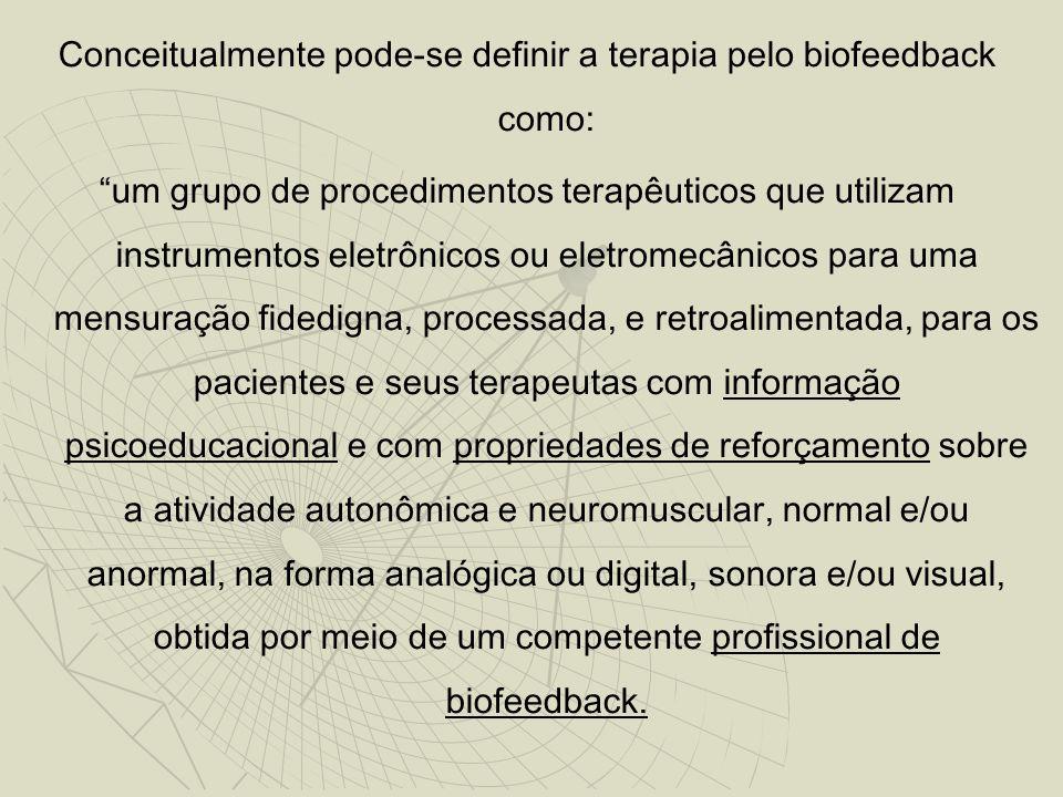 Conceitualmente pode-se definir a terapia pelo biofeedback como: