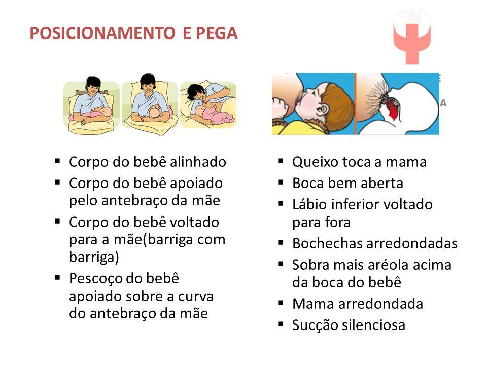 POSICIONAMENTO E PEGA Corpo do bebê alinhado