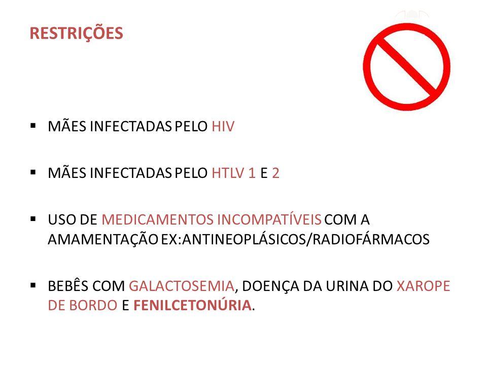 RESTRIÇÕES MÃES INFECTADAS PELO HIV MÃES INFECTADAS PELO HTLV 1 E 2